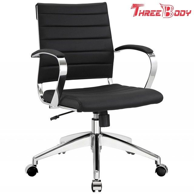 Mid Back Executive Office Chair , Comfortable Black Leather Office Chair